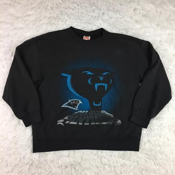 newest e35b2 0bc28 Vintage Carolina Panthers Sweatshirt Black Large